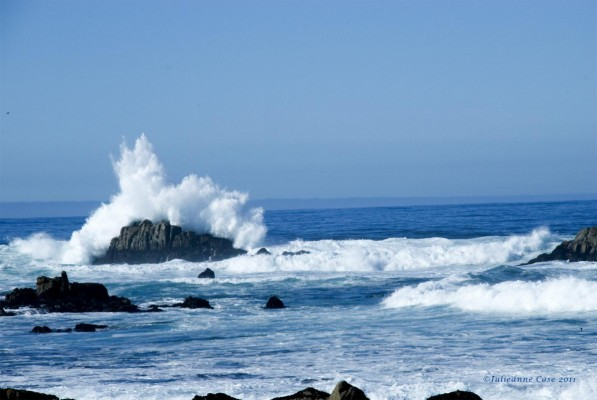 The rugged surf along the Monterey Bay