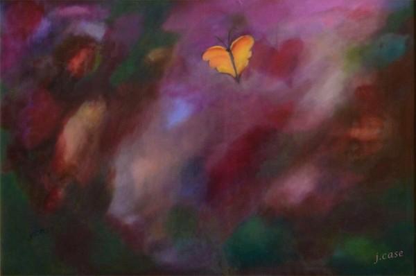 Oil - butterfly in flight over purple skies